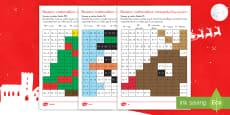 Ficha de actividad de atención a la diversidad: Mosaico matemático - La Navidad