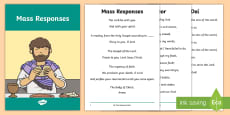 Roman Catholic Mass Responses Pupil Print-Out