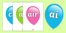 Phase 3 Phonemes on Balloons