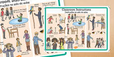 Classroom Instructions Display Poster Portuguese Translation