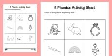 r Phonics Colouring Activity Sheet