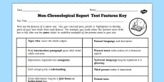 Features of a Non Chronological Report Text Checklist