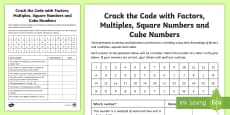 * NEW * Crack the Code with Factors, Multiples, Squares and Cube Numbers Activity Sheet