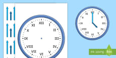 Roman Numerals Blank Clock with Hands