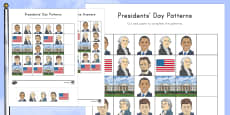 Presidents' Day Complete the Pattern Activity Sheet