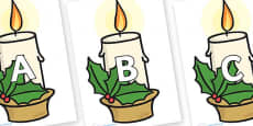 A-Z Alphabet on Christmas Candles