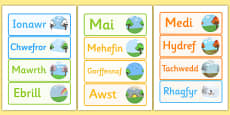 Months of the Year Word Cards Welsh