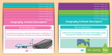 Year 2 Australian Curriculum Geography Content Descriptors A4 Display Poster