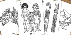 Australia - Aboriginal and Torres Strait Islander People Themed Colouring Sheets