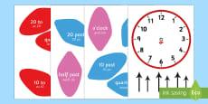 Analogue Clock Flower Labels English/Polish