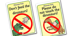 Dinosaur Park Role Play Signs