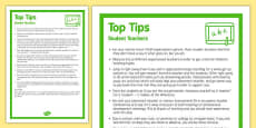 Top Ten Tips for Student Teachers Display Poster