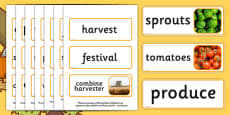 Harvest Topic Word Cards