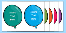 Editable Birthday Balloons Display Pack