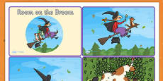 Story Sequencing Cards 4 per A4 to Support Teaching on Room on the Broom