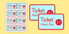 The Fairground Role Play Tickets
