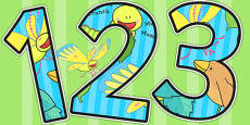 Themed A4 Display Numbers to Support Teaching on The Crunching Munching Caterpillar