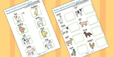 Mothers and their Young Farm Animals Matching Activity Arabic Translation