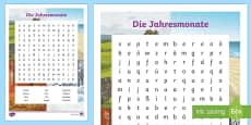* NEW * Months of the Year Word Search - German