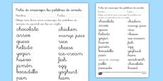Ficha de emparejar palabras de comida en inglés