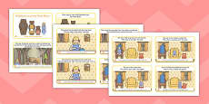 Goldilocks and the Three Bears Story Sequencing 4 per A4 with Text Arabic Translation