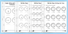 * NEW * Tell the Time Differentiated Activity Sheets Maths Resource Pack
