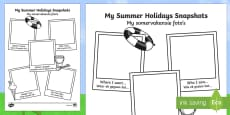 Summer Holiday Snapshots Writing Frame English/Afrikaans