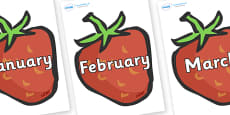 Months of the Year on Strawberries