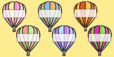 Hot Air Balloons 2 per A4 Editable Box