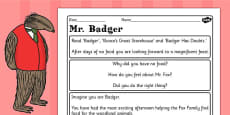 Badger Diary Writing Challenge Activity to Support Teaching on Fantastic Mr Fox