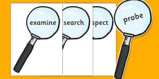 Investigation Area Words on Magnifying Glasses