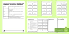 AQA Reading Booklet Transition Points and Endings Glossary Resource Pack