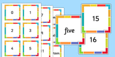 Numerals and Words Matching Cards