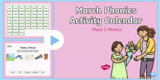 Phase 5 March Phonics Activity Calendar PowerPoint