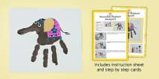 Decorated Elephant Handprint Craft Instructions