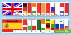 International Welcome Flags with Country Display Posters