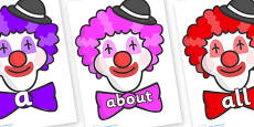 100 High Frequency Words on Clown Faces