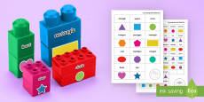 * NEW * 2D Shape Names Matching Connecting Bricks Game