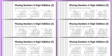 Addition 6-Digit Missing Numbers Differentiated Activity Sheet Pack