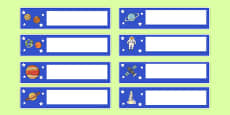 Space Themed Editable Gratnells Tray Labels