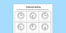 O\'clock and Half Past Times Activity Sheet Polish