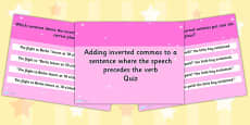 Adding Inverted Commas to a Sentence where the Speech Comes Before the Verb SPaG Punctuation Quiz PowerPoint