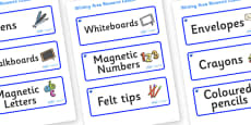 Sapphire Blue Themed Editable Writing Area Resource Labels