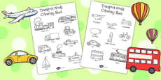 Transport Words Colouring Sheet