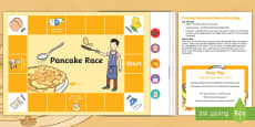 Pancake Race Board Game Busy Bag Prompt Card and Resource Pack