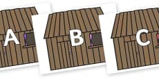 A-Z Alphabet on Wooden Houses