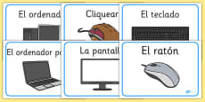 Computer Area Word Labels Spanish