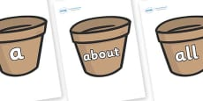 100 High Frequency Words on Flower Pots (Plain)