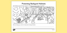 Protecting Backyard Habitats Colouring Activity