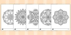 Adult Colouring Mandala Themed Mindfulness Colouring Sheets